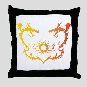 Twin dragons soul battle Throw Pillow