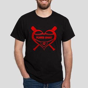 Personalized Baseball Player Heart T-Shirt