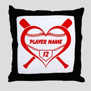 Personalized Baseball Player Heart Throw Pillow
