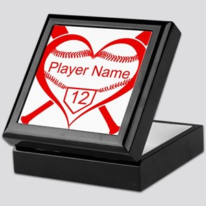 Personalized Baseball Player Heart Keepsake Box