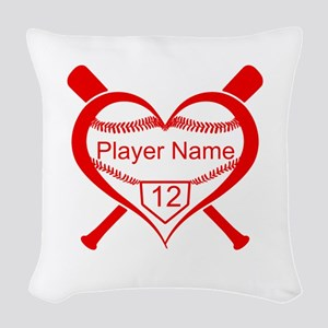 Personalized Baseball Player Heart Woven Throw Pil