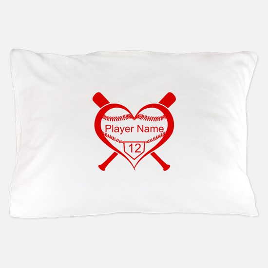 Personalized Baseball Player Heart Pillow Case