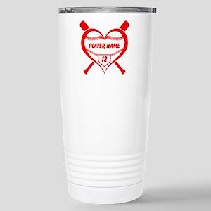Personalized Baseball Player Heart Travel Mug