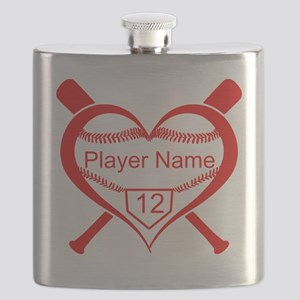 Personalized Baseball Player Heart Flask