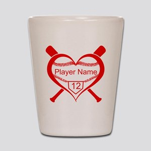 Personalized Baseball Player Heart Shot Glass