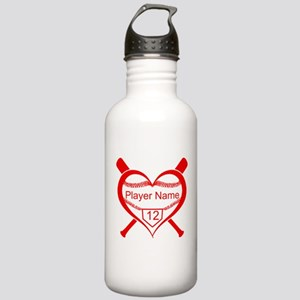 Personalized Baseball Player Heart Water Bottle
