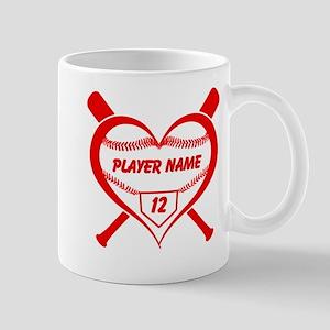 Personalized Baseball Player Heart Mugs