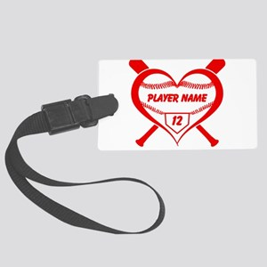 Personalized Baseball Player Heart Luggage Tag
