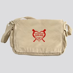 Personalized Baseball Player Heart Messenger Bag