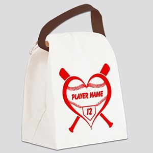 Personalized Baseball Player Heart Canvas Lunch Ba