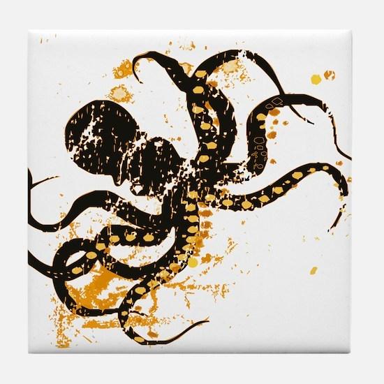 Octopus ink splatter Tile Coaster