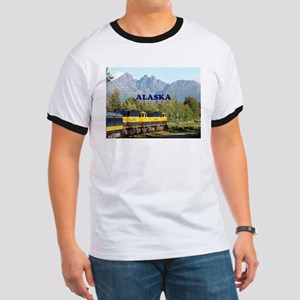 Alaska Railroad & mountains (caption) T-Shirt
