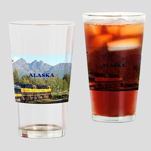 Alaska Railroad & mountains (captio Drinking Glass