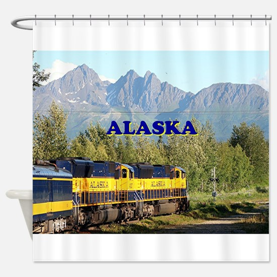 Alaska Railroad & mountains (captio Shower Curtain