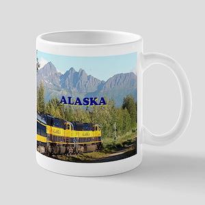 Alaska Railroad & mountains (caption) Mugs