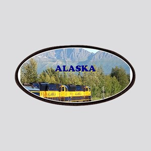 Alaska Railroad & mountains (caption) Patch