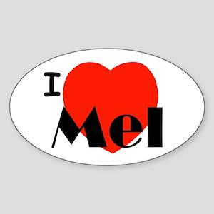 I Love Mel Oval Sticker