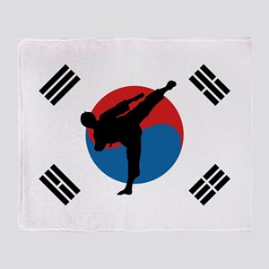 Taekwondo Flag Throw Blanket