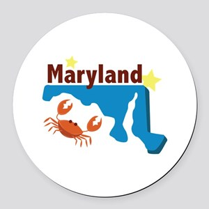 State Of Maryland Round Car Magnet