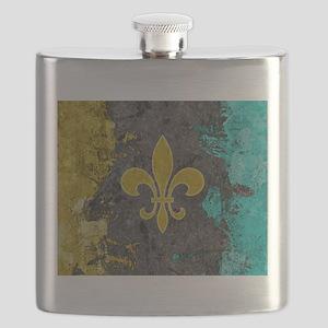 Fleur-de-lis Gold Gray Turquoise Flask