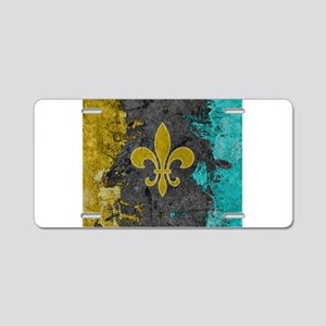 Fleur-de-lis Gold Gray Turq Aluminum License Plate