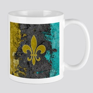 Fleur-de-lis Gold Gray Turquoise Mugs