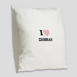 I love Zebras (Heart Made from Burlap Throw Pillow