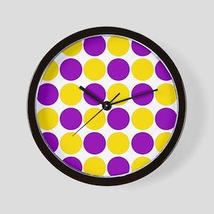 circles purple and gold Wall Clock