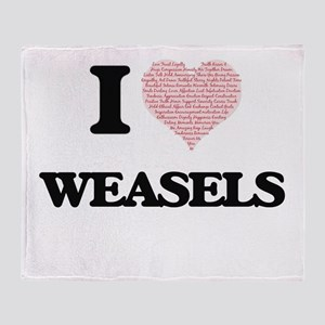 I love Weasels (Heart Made from Word Throw Blanket