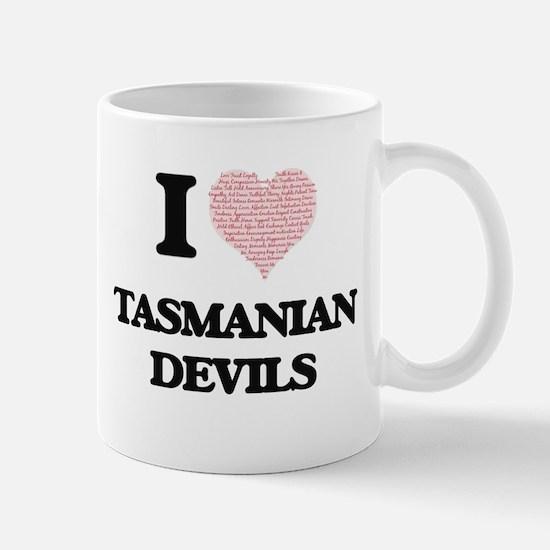 I love Tasmanian Devils (Heart Made from Word Mugs