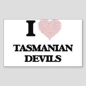 I love Tasmanian Devils (Heart Made from W Sticker