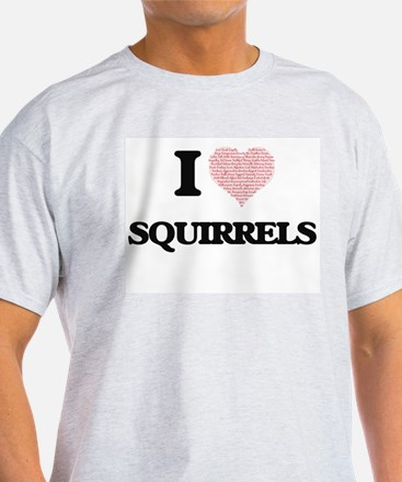 I love Squirrels (Heart Made from Words) T-Shirt