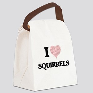 I love Squirrels (Heart Made from Canvas Lunch Bag