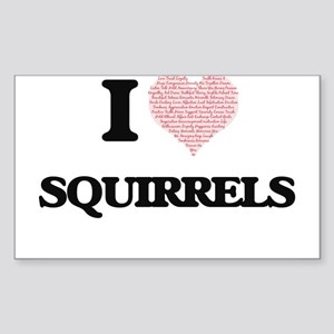 I love Squirrels (Heart Made from Words) Sticker