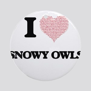 I love Snowy Owls (Heart Made from Round Ornament