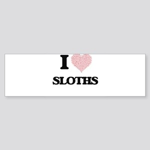 I love Sloths (Heart Made from Word Bumper Sticker