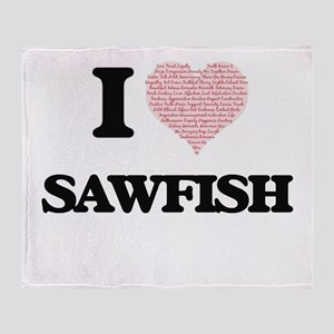 I love Sawfish (Heart Made from Word Throw Blanket