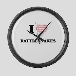 I love Rattlesnakes (Heart Made f Large Wall Clock