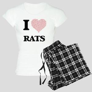 I love Rats (Heart Made fro Women's Light Pajamas