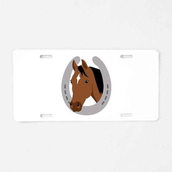 Horseshoe Horse Aluminum License Plate