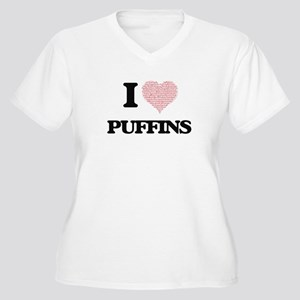 I love Puffins (Heart Made from Plus Size T-Shirt