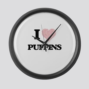I love Puffins (Heart Made from W Large Wall Clock