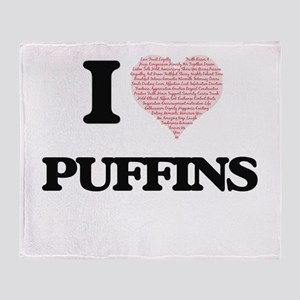 I love Puffins (Heart Made from Word Throw Blanket