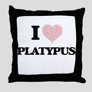I love Platypus (Heart Made from Word Throw Pillow