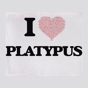 I love Platypus (Heart Made from Wor Throw Blanket