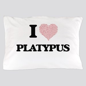 I love Platypus (Heart Made from Words Pillow Case