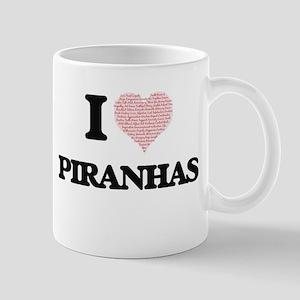 I love Piranhas (Heart Made from Words) Mugs