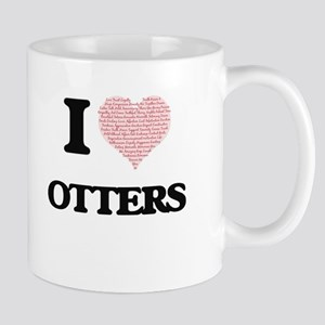 I love Otters (Heart Made from Words) Mugs