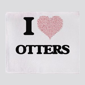 I love Otters (Heart Made from Words Throw Blanket
