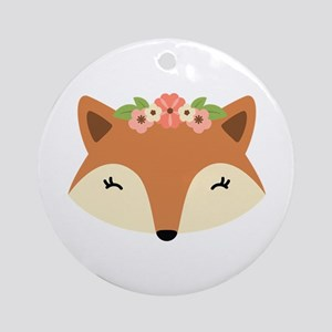 Fox Head Round Ornament